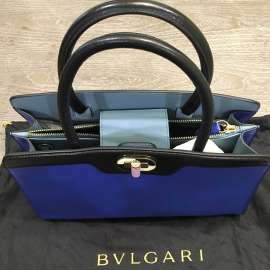 BVLGARI Satchel in Blue And black Leather With Gold Hardwear Image 1