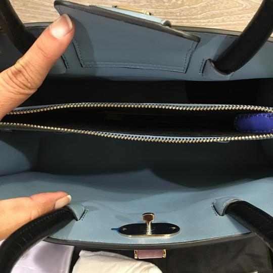 BVLGARI Satchel in Blue And black Leather With Gold Hardwear Image 2