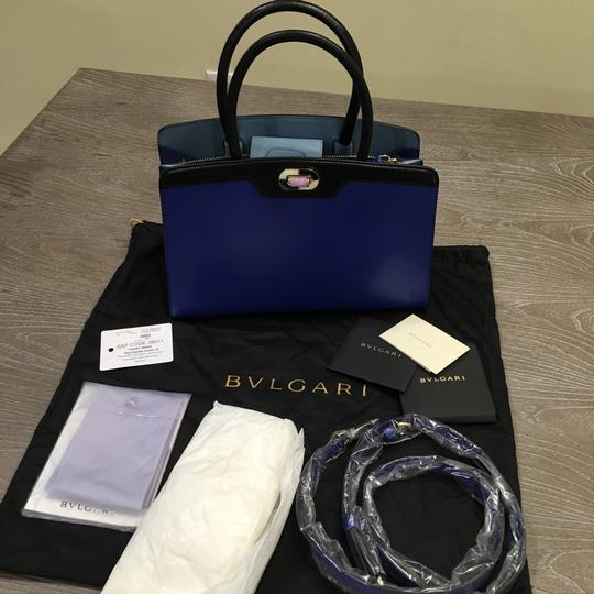 BVLGARI Satchel in Blue And black Leather With Gold Hardwear Image 3