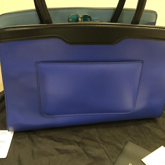 BVLGARI Satchel in Blue And black Leather With Gold Hardwear Image 6