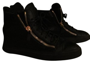 Giuseppe Zanotti Crocodile Embossed High Top Sneakers Black with gold hardware Athletic