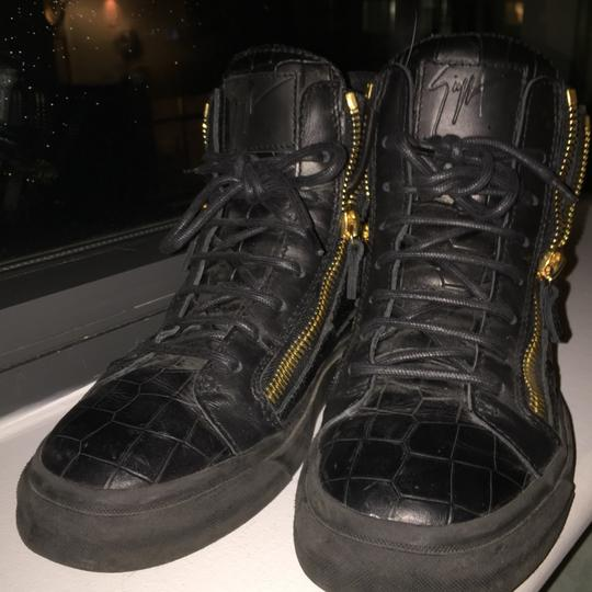 Giuseppe Zanotti Crocodile Embossed High Top Sneakers Black with gold hardware Athletic Image 2