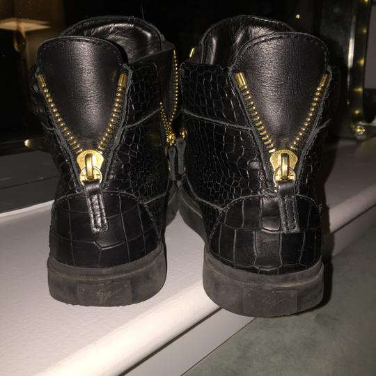 Giuseppe Zanotti Crocodile Embossed High Top Sneakers Black with gold hardware Athletic Image 3