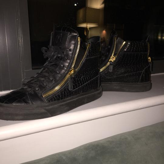 Giuseppe Zanotti Crocodile Embossed High Top Sneakers Black with gold hardware Athletic Image 4