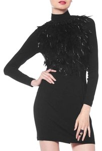 Gracia Fur Mini Turtleneck Dress