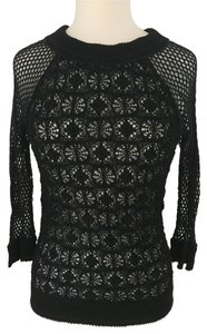 Isabel Marant Sexy Date Night Sheer Crochet Fishnet Top Black