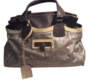Marc by Marc Jacobs Hardware Rare Monogram Multicolored Satchel in Brown, Metallic Silver, Cream