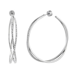 Michael Kors Michael Kors MKJ4407040 Criss-Cross Crystal Silver tone Hoop Earrings