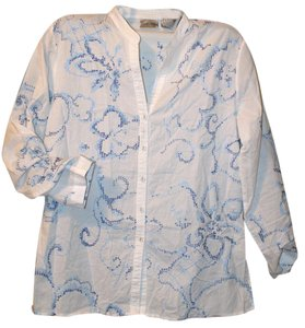 Chico's Embroidered Embellished Bohemian Classic Button Down Shirt Blue & White