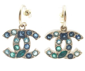 Chanel Chanel Gold CC Turquoise Stone Piercing Earrings