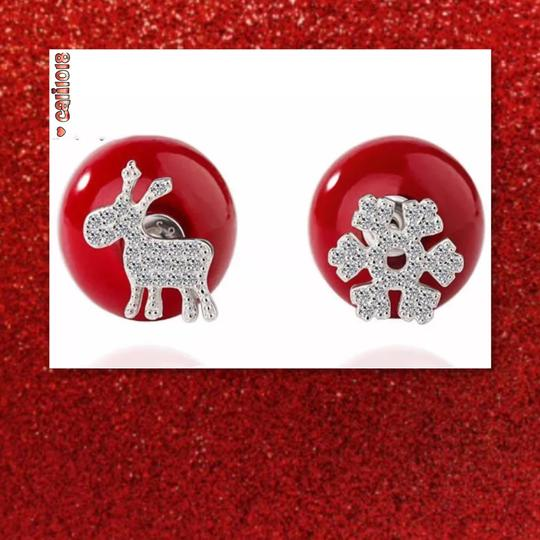 Other New Holiday Red Double Sided Crystal Earrings Image 1