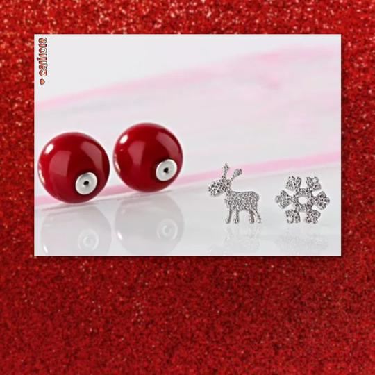 Other New Holiday Red Double Sided Crystal Earrings Image 2