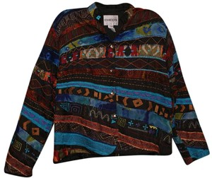 Chico's Silk Quilted Patchwork Multi black red orange yellow blue Jacket