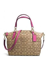 Coach Signature Pink Satchel in Khaki/Pink