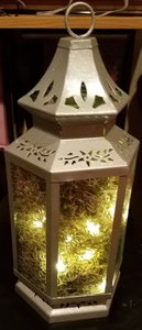 Silver Glitter Lantern With Fairy Lights And Moss (about 16 In)