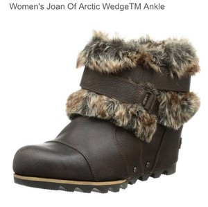 sorel Joan of Artic Ankle Wedge Brown Boots