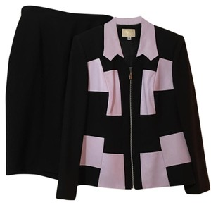 Alberto Makali Black Lilac Leather Block Accent Skirt Suit 14