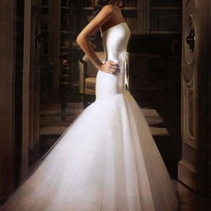 Romona Keveza White Satin and Tuille Formal Wedding Dress Size 12 (L)