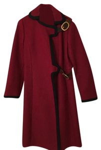Prada #prada #red #wool #overcoat #buckles Coat