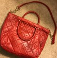 Michael Kors Leather Tote in Red Image 1
