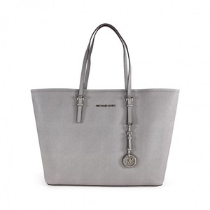 Michael Kors Leather Saffiano Tote in Steel Grey
