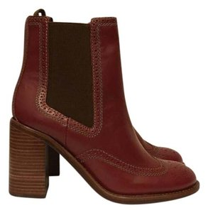 See by Chloé Leather Ankle Burgundy Boots