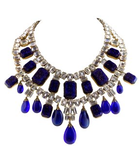Arnold Scaasi 1960s Arnold Scaasi Cobalt Blue & Diamante Necklace