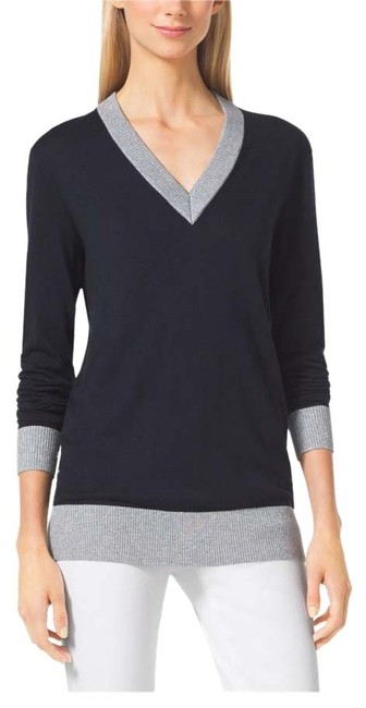 Item - Womens Navy/Silver Vneck Nwts Navy with Silver Metallic Sweater