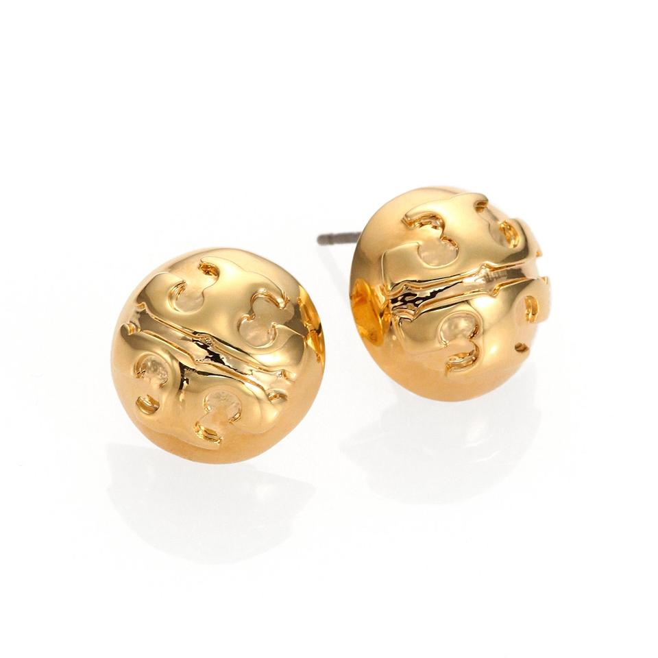 Tory Burch Small Domed Stud Earrings Gold