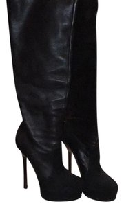 YSL Double Platform Over the Knee Boot Black Boots