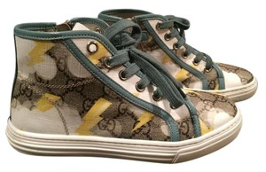 Gucci Kids Gg Canvas Sneakers Teal, yellow, white and tan Athletic