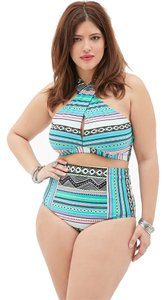 Forever 21 Forever 21 Plus White Jade Tribal high-waisted Bikini Set 2pc Swimsuit 1X
