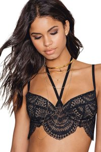 For Love & Lemons New Lace Bralette Black Halter Top