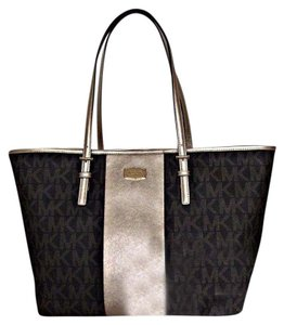 Michael Kors Metallic Travel Gold Tote in Brown
