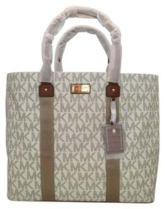 Michael Kors Large Signature Webbing Ew Tote Vanilla Travel Bag