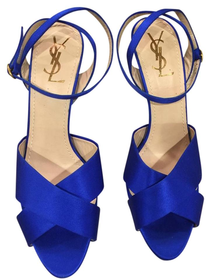 Saint Laurent Royal Blue Blue Royal Ysl Sandals 3f4f6b
