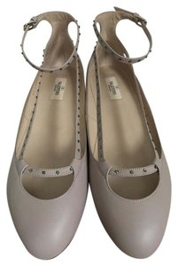 Valentino Leather Crystal Nude Flats