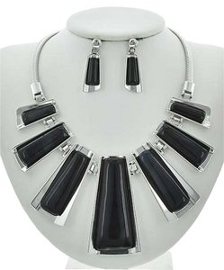 Black Acrylic Necklace & Earring Set