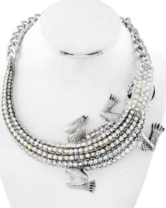 Antique Silver Ab & Clear Rhinestone Necklace