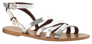 J.Crew Metalic Crossstrap Silver Sandals
