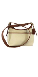Coach Tan Canvas Brown Leather Cross Body Bag