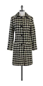 MILLY Black Ivory Wool Houndstooth Coat