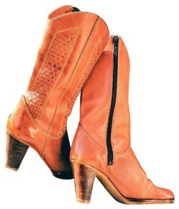 Nine West Cowboy 70's Vintage Leather Orange/Brown Boots