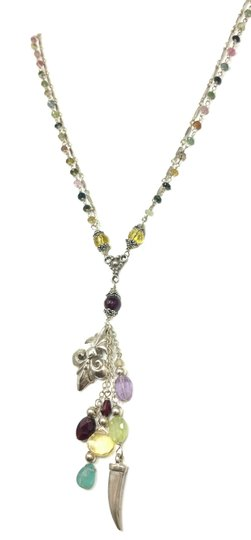 Kinley Sterling Fleur-de-lis Kinley Necklace in Tourmaline Image 2