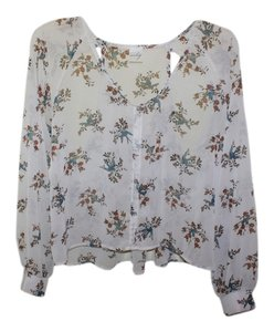 Audrey Birds Florals Spring Cut Outs Top White