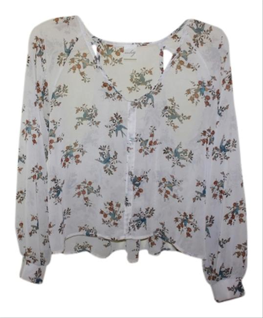 Audrey Birds Florals Spring Cut Outs Chiffon Top White