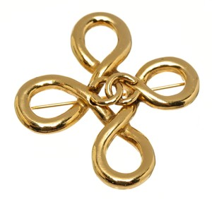 Chanel Chanel Gold Cc Logo Twist Detail Brooch