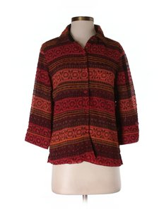 Coldwater Creek Button Down Office School Rayon Evening Top Orange brown