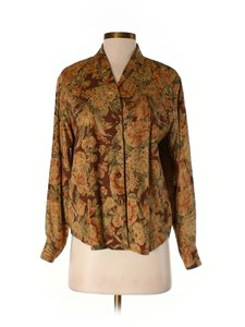 Liz Claiborne Blouse School Work Casual Button Down Shirt Brown, burgundy, orange, green