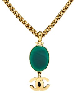 Chanel Chanel Green and Gold Bijoux Chain CC Logo Pendat 95A Necklace